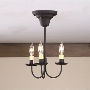 Details About 3 Arm Primitive Colonial Ceiling Light Textured Black Candle Simple Charming New