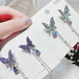 Fashion 1 Pair Women Elegant Pearl Crystal Rhinestone Butterfly Dangle Earrings