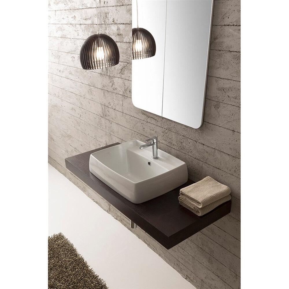 Lavandino Lavabo da incasso bagno Serie Arco in ceramica. Due misure disponibili