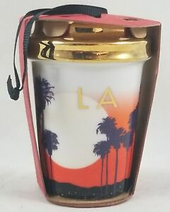 Starbucks-2015-Holiday-Cup-Ceramic-Christmas-Ornament-L-A-Palm-Trees-Los-Angeles