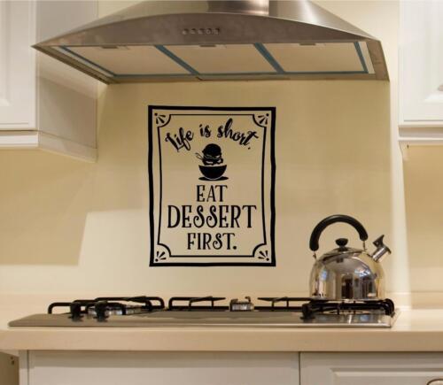 Life Is Short Eat Dessert First Kitchen Vinyl Decal Wall Sticker Words Lettering