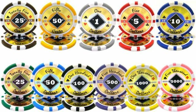 NEW 500 PC Black Diamond 14 Gram Clay Poker Chips Set Aluminum Case Pick Chips