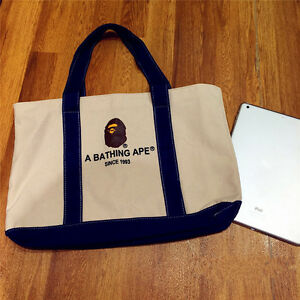 Newly A Bathing Ape Bape Tote Bag School Canvas Shopping Bag From Magazine Hot
