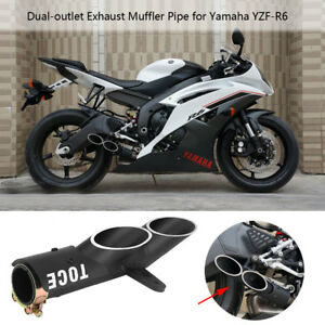 New Dual-outlet Exhaust Tail Pipe ler Tip For Yamaha YZF-R6 ...