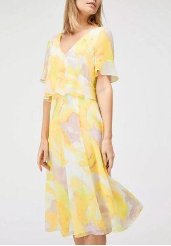 Jacques Vert Porto Bloom Sunshine Yellow Floating Bodice Dress Size 12 New Tags