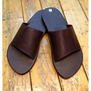 31795f6269a Handmade Brown Leather Hobo Sandals Simple Thong Open Toe Flats Men ...