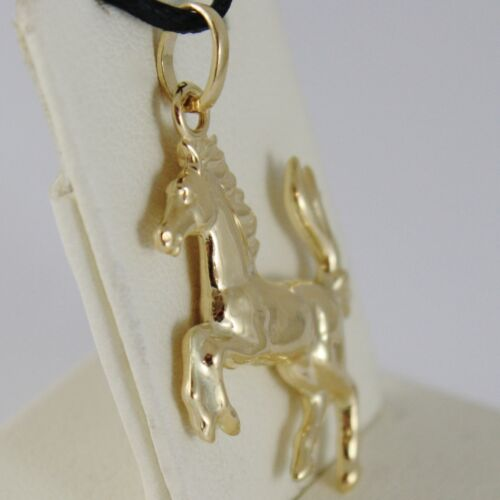 18K or Jaune Arrondi CHEVAL Pendentif charm 32 mm Lisse Brillant Made in Italy