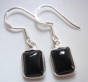 Small Moonstone Rectangles 925 Sterling Silver Dangle Earrings Corona Sun