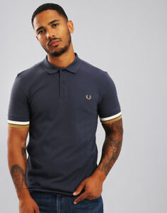 8901dfd34 Image is loading Fred-Perry-Bold-Cuff-Pique-Polo-Shirt-Dark-
