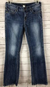 Silver-Jeans-Women-039-s-Aiko-Boot-Cut-Distressed-Blue-Jeans-Size-30