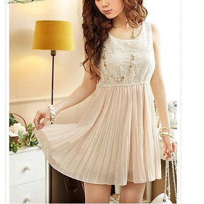 Sexy Women's Sleeveless Dress Lace&Chiffon Sundress Pleated MIni Dresses Beige