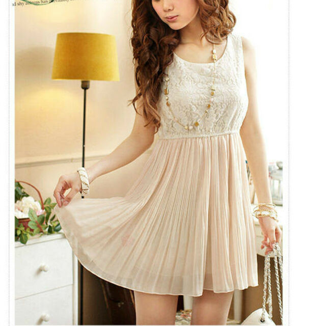 Sexy Women's Sleeveless Dress Lace&Chiffon Sundress Pleated MIni Dresses Beige