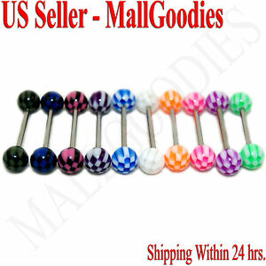 W064-Acrylic-Tongue-Rings-14G-Bar-Barbell-Checkered-Pattern-Design-5-8-034-Lot-10