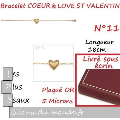 BRACELET COEUR /& LOVE AMOUREUX St Valentin en Plaque OR au CHOIX Neuf ECRIN