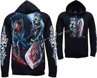 Grim Reaper Rider Sword Glow In The Dark Zip Zipped Hoodie Hoody Jacket M - XL