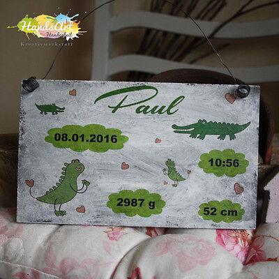 Das Beste Shabby Style -geburtsschild Junge Krokodil- Holzschild Geschenk Taufe Handsart Husten Heilen Und Auswurf Erleichtern Und Heiserkeit Lindern