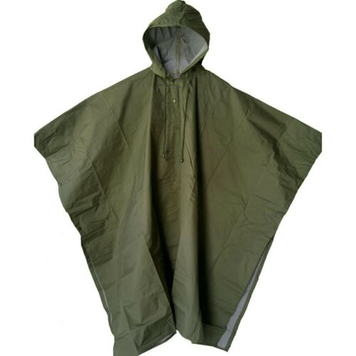 OLIVE RAIN PONCHO PU COATED 2000MM WATERPROOF RATING TAPED SEAMS