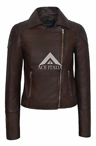 Fashion Collard Ladies Brown Leather Jacket Trendy Lilly Real Biker Napa Yww6v1IqPx