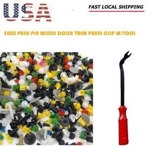 500x Push Pin Mixed Door Trim Panel Clip Fastener Bumper Rivet Retainer  Tool