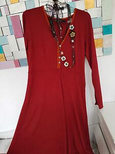gudrun sj den gr l kleid rotes jersey kleid mit langen rmeln 95 viskose ebay. Black Bedroom Furniture Sets. Home Design Ideas