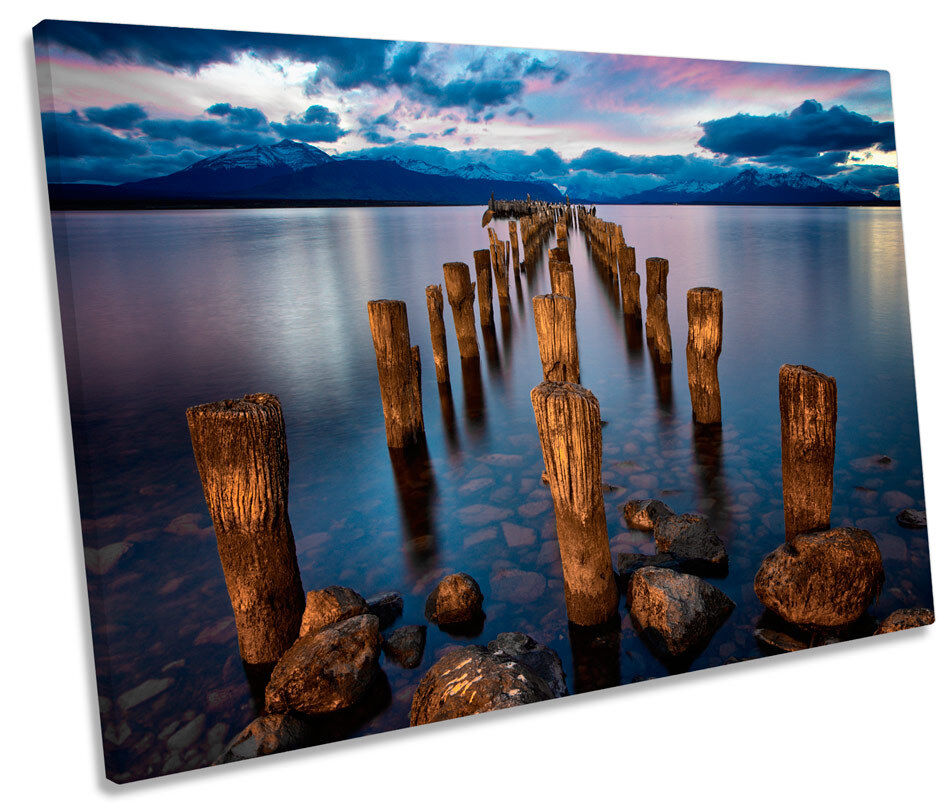 Sunset Pier Jetty Lake SINGLE CANVAS Wand Kunst Box Framed 280gsm