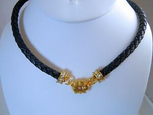 Kirks-Folly-Black-Braided-Cord-Magnetic-Necklace-Interchangeable-Gold-finish