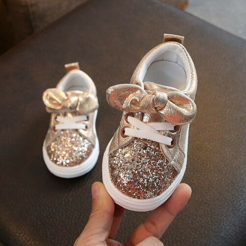 Children Baby Kids Girl Shoes Bling Sequins Bow Crystal Run Sport Sneakers Shoes