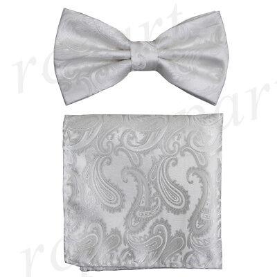 New Brand Q Men/'s micro fiber formal Self-tied Bow tie /& Hankie Gray paisley