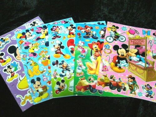 Pluto Duck Mouse Disney Mickey Minnie 5 x A4 Sheets of Shiny Foil Stickers 465
