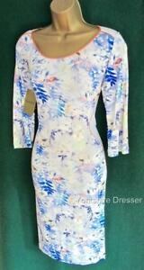 New-BANDOLERA-Blue-Floral-MARIE-Uk-14-Long-Sleeved-Stretch-Illusion-Party-Dress