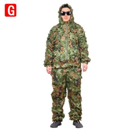 Ghillie Suit 3D Camouflage Clothing Snow Woodland Jungle Leaf Military Hunting