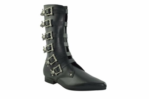 Buckle Black Ground Boots Leather 6 Steel Straps Goth Calf Skull Winklepicker xOgqwp