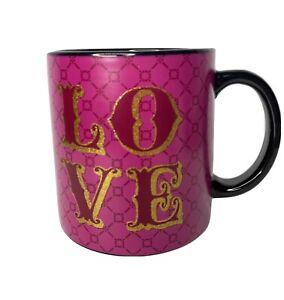 Black Pink Love Coffee Mug 16 Oz Ceramic TMD Holdings Gold Trim
