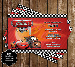 Image Is Loading Disney Cars Birthday Party Invitations 15 Printed W