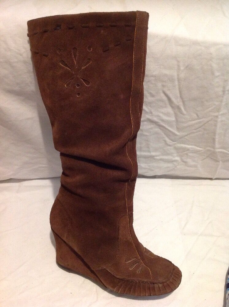 Faith Brown Knee High Suede Boots Size 7