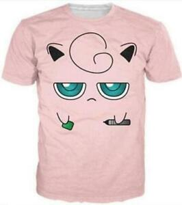 New Fashion Women//Mens funny cartoon Jigglypuff Face 3D Print T-Shirt spoof YT43