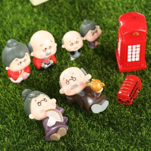 Fairy Miniature Dollhouse Decor Grandparents Figurine Bus Telephone Box Ornament