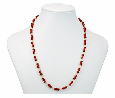 """Red Bamboo Coral Necklace stick Natural 14k Gold Fill and Plate Chain  24/"""""""