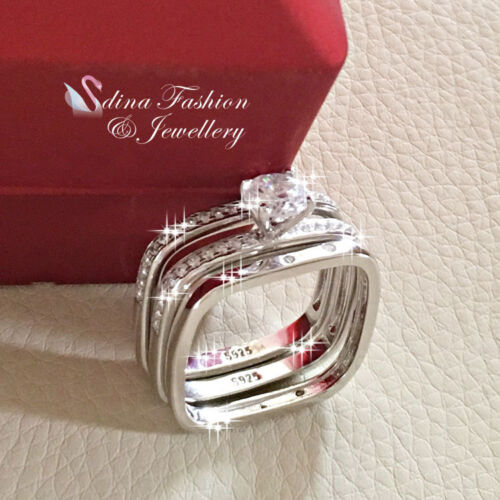 925 Sterling Silver AAA Grade CZ Round Square Band Engagement Triple Ring Set