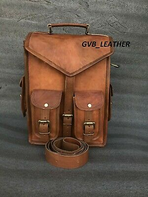 Real Leather Backpack Backpack Shoulder Vintage Messenger Rucksack Sling Bag