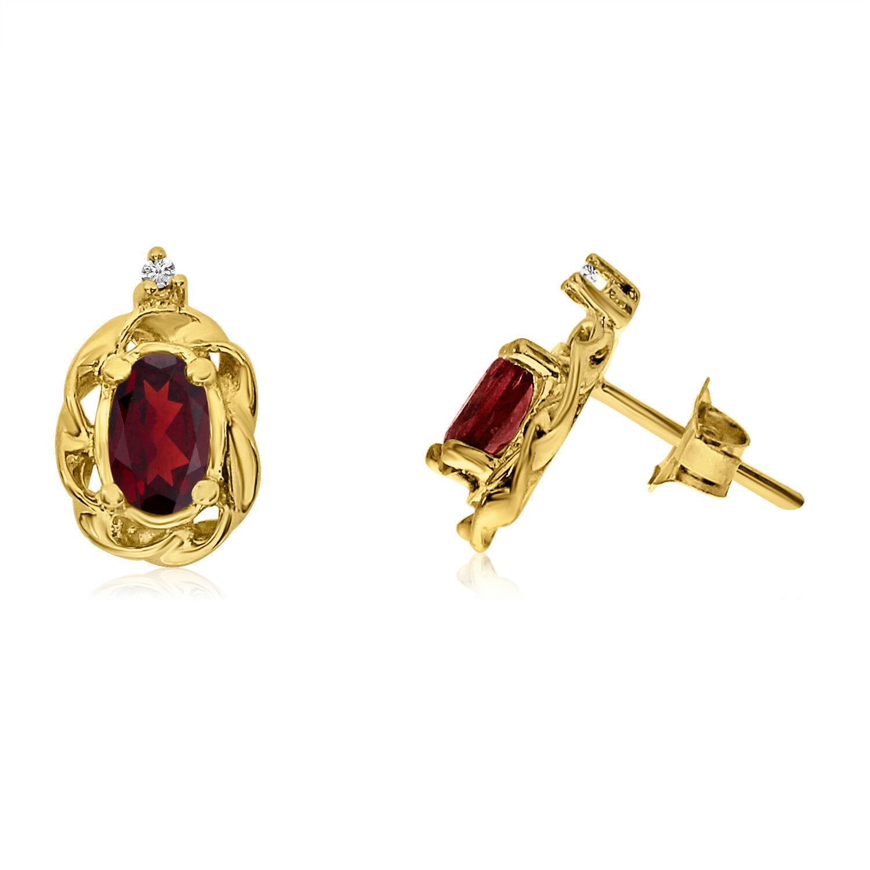 14k Yellow gold Garnet Scroll Diamond Earrings