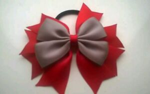 Girls Red and Yellow Hair Bow Bobble School Uniform Dance Bow FREE POSTAGE