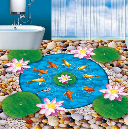 3D Round Lotus Pond 783 Floor WallPaper Murals Wall Print Decal AJ WALLPAPER US