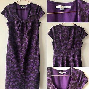 Boden-Vestido-Lapiz-purpura-UK8-Imperio-Floral-Ajustada-Smart-Casual-de-Verano-Gorra-SLV