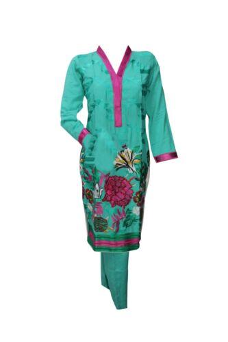 Vestiti abiti Indiano Pakistano Salwar Kameez MARE verde Cotone Rosa Ricamo