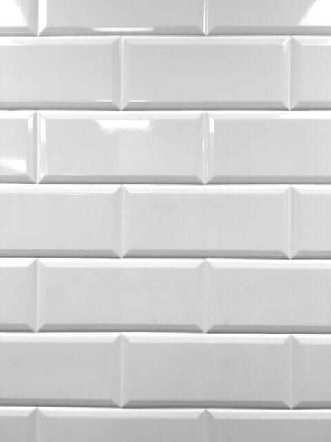 White 4x10 Beveled Shiny Ceramic Subway Tile Backsplash Wall Kitchen Bath