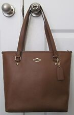 Coach F57789 Zip Top Crossgrain Saddle Leather Tote