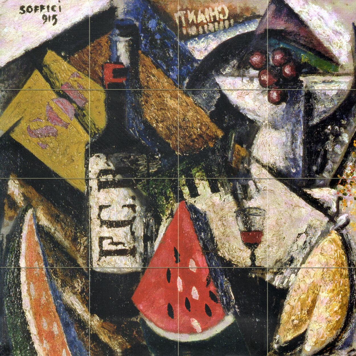 Wine Bottle Watermelon Art  Kitchen Dining Bath Ceramic Tile Mural  2611