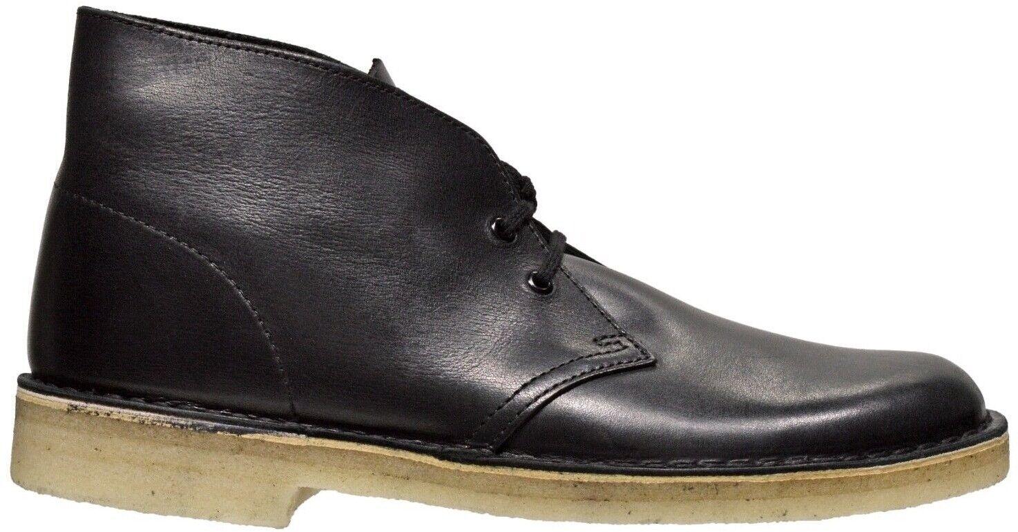 Clarks Originals Para Hombre botas Desierto De Cuero Negro 26128792
