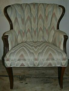 Details About Vintage Antique Upholstered High Back Chair 36 Floor To Top Of Back